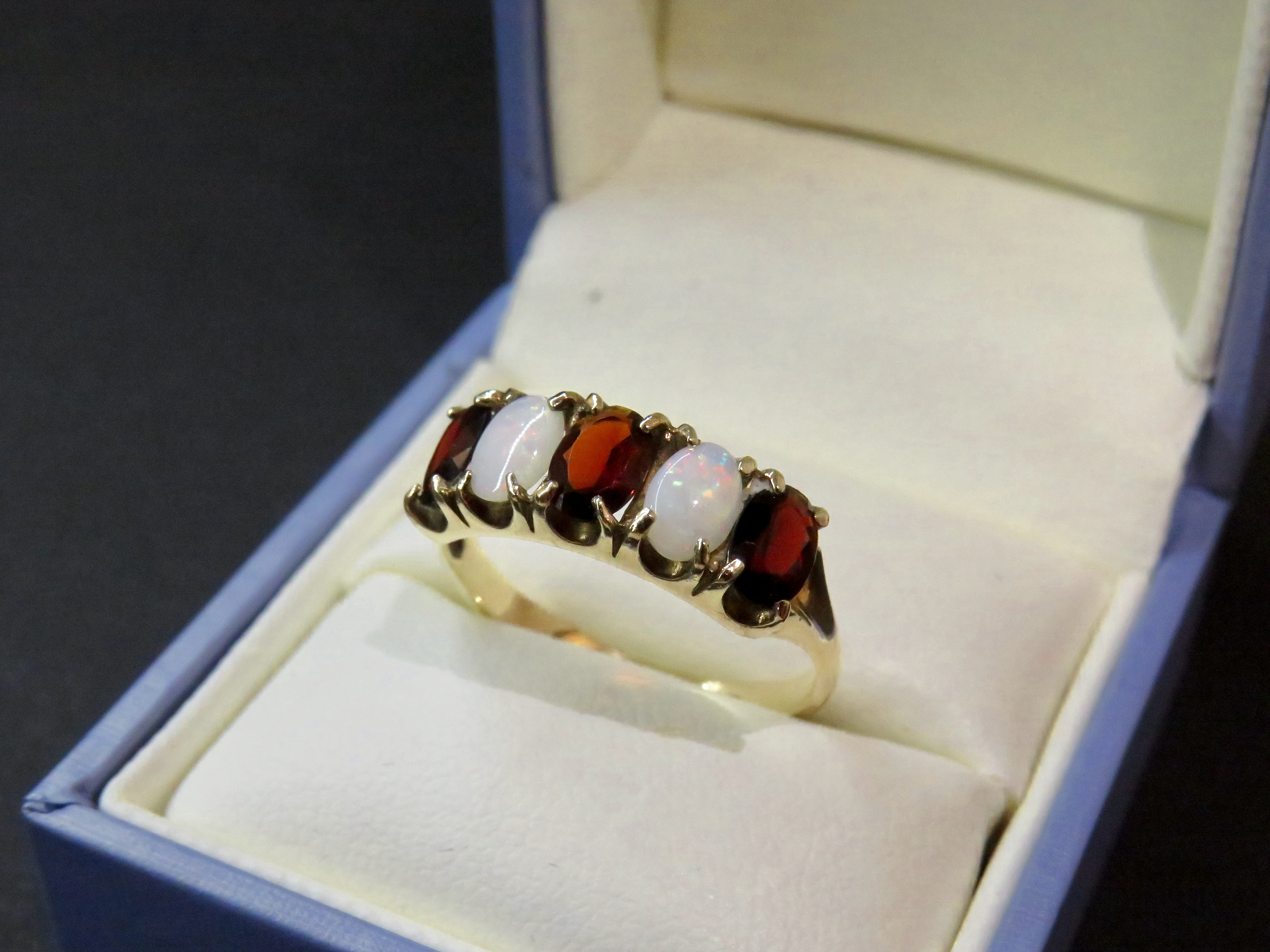 Garnet & Opal 5 Stone Ring