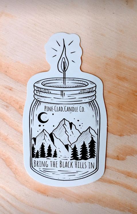 Pine-Clad Candle Jar Sticker