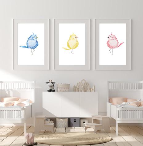 Set of 3 Elegant Birds - Watercolor Nurs