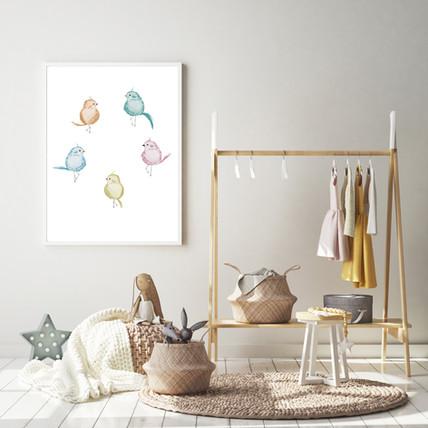 Elegant Birds Watercolor Nursery Wall Art