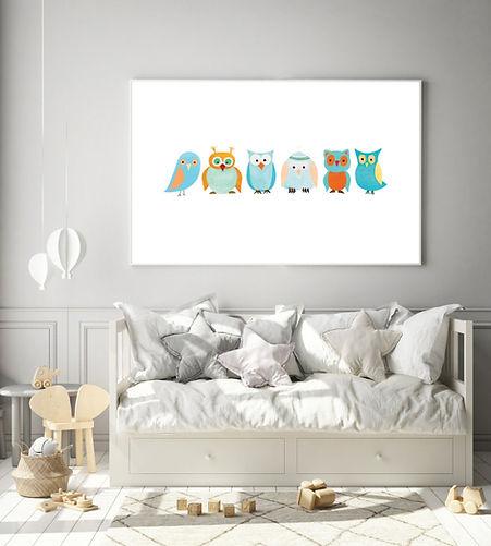 Six Crazy Birds Animal Wall Print