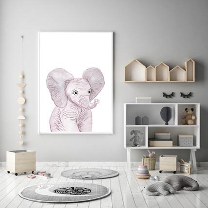 Elephant Watercolor Nursery Wall Art