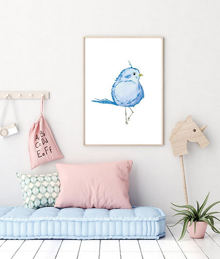 Elegant Bird Nursery Wall Print