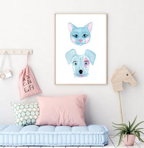 DOG & CAT 2in1 - Watercolor Nursery