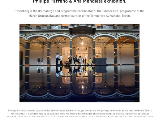 Private tour of the Phillipe Parreno and Ana Mendieta exhibition