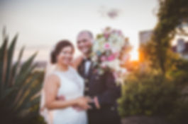 sunset, bride and groom sunset, golden hour, flowers, vintage villas