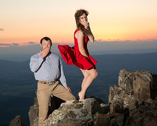 Engagement picture on a mountain top