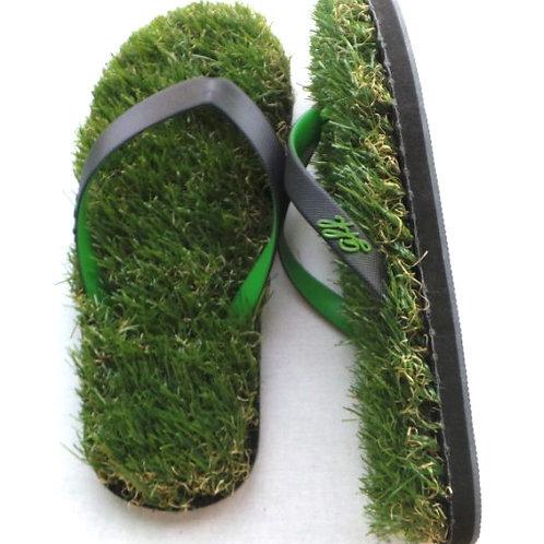 Black / Green Grass Flip Flops