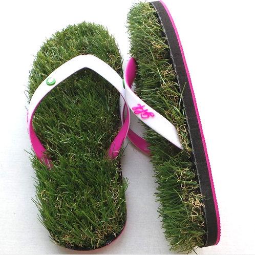 White / Pink Grass Flip Flops