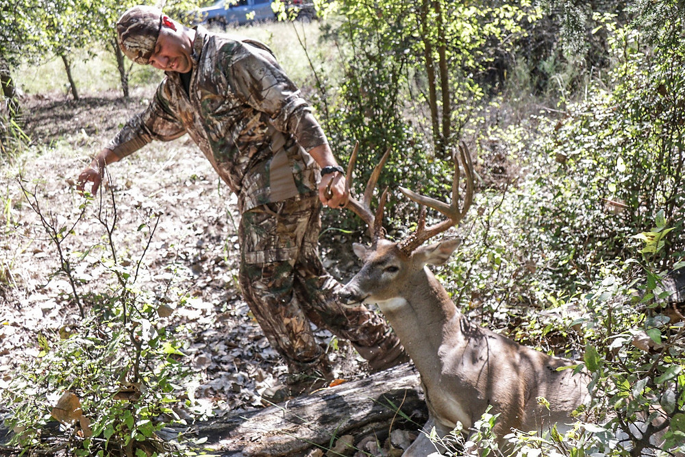 A hunter dragging out his deer
