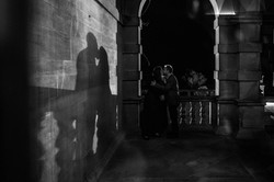 A shadow of a couple kissing at Eynsham Hall