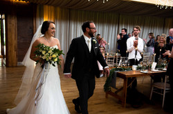 Bride and Groom arrive for the wedding breakfast at Elmore Cour