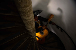 Mariachi band climbing the spiral staircase at the awesome Wadham College