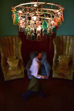 Waiter rushing through Eynsham Hall