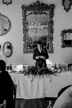 The groom practicing his speech at Kings Weston House