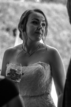 A black and white portrait of the bride at Elmore Court