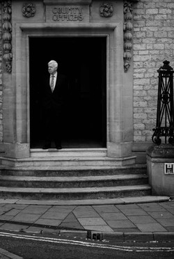 Father of the groom waiting at Oxford registry office