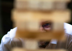Looking through a Jenga tower.