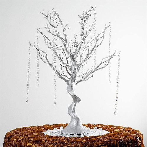 30'' Metallic Silver Manzanita Centerpiece Tree + 8pcs Acrylic Chains