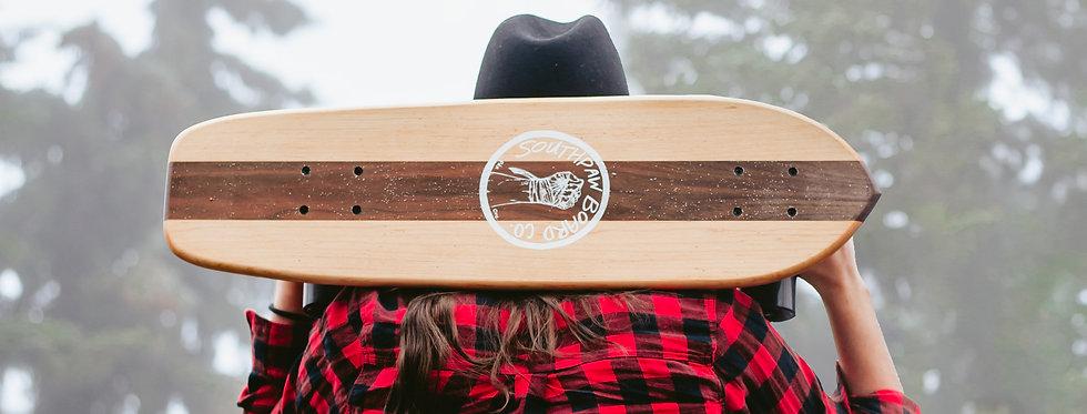 Vertical Stripe Maple & Walnut Cruiser Skateboard