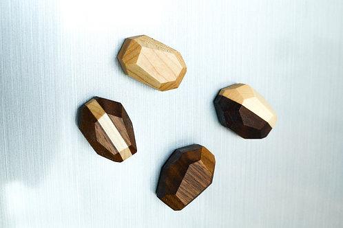 Geometric Hardwood Magnets (Set of 4)