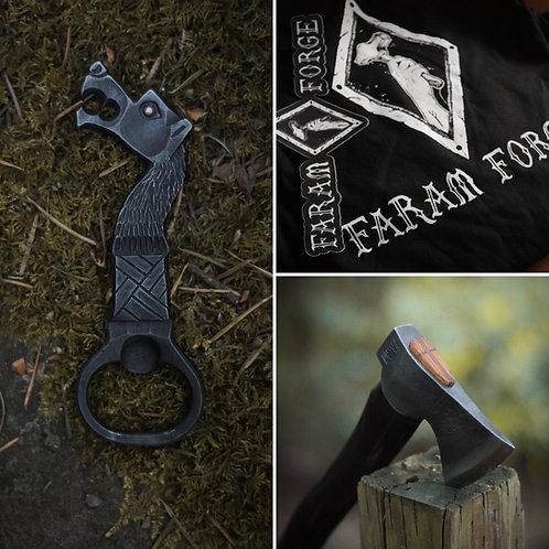 Mini camp axe, beast bottle opener combo.