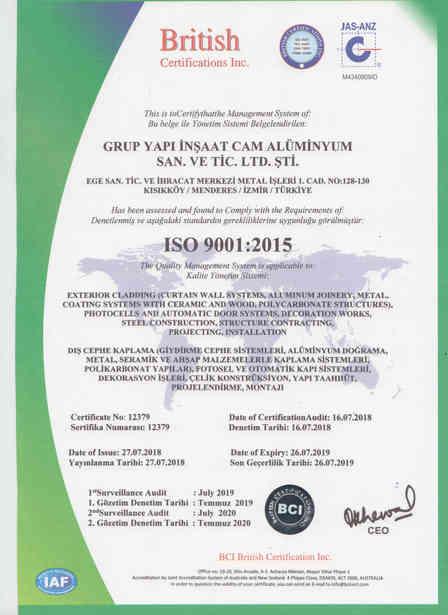 ISO9001 BELGESİ