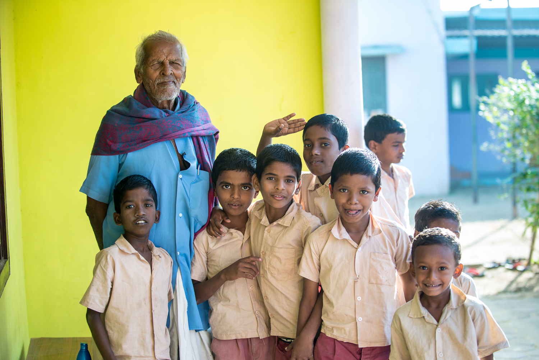 Jayapaul's grandfather with children