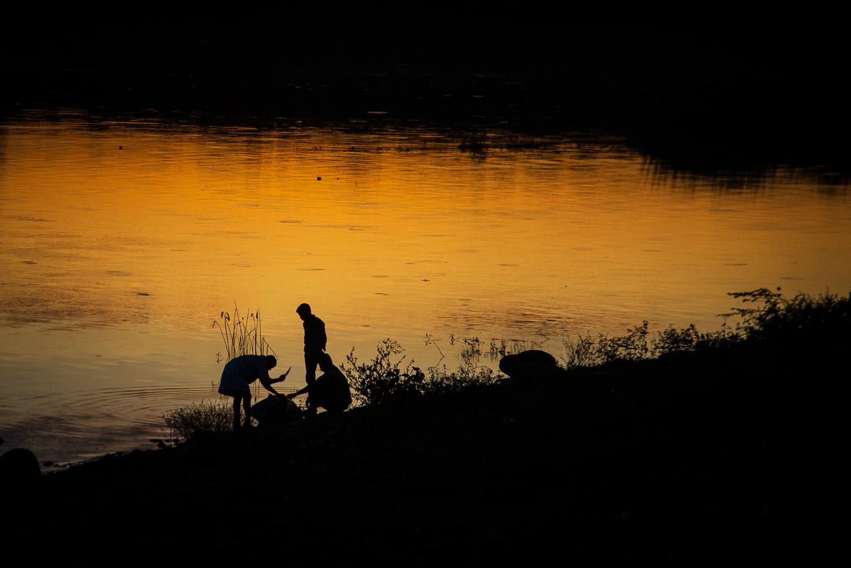 Sunset on Poondi Lake