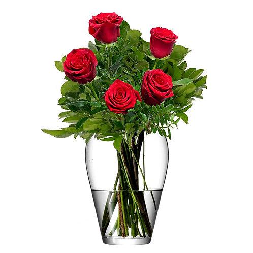 Buchet flori - trandafiri rosii 5 fire