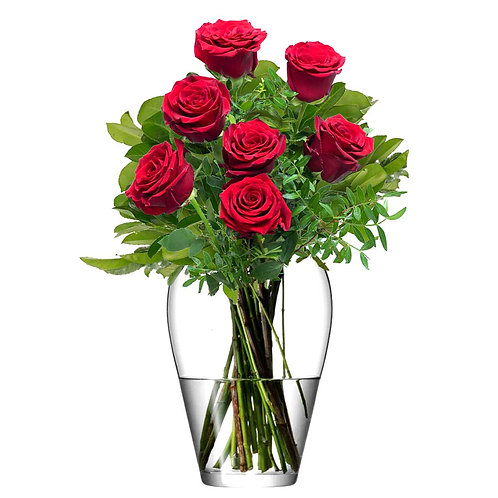 Buchet flori - trandafiri rosii 7 fire