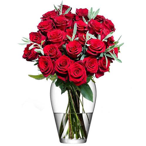 Buchet flori - trandafiri rosii 25 fire