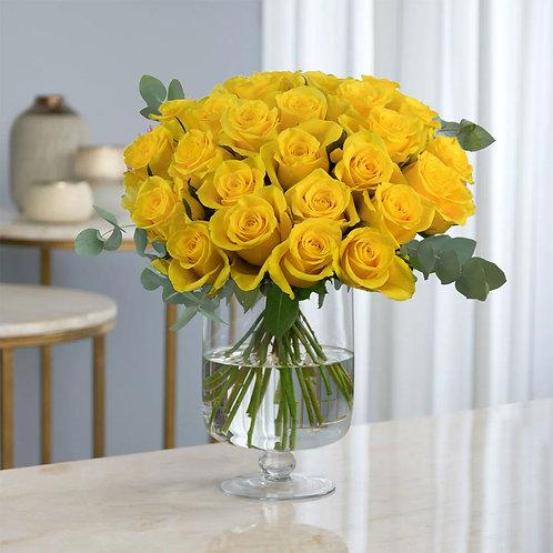 Buchet flori - trandafiri galbeni 21 fire