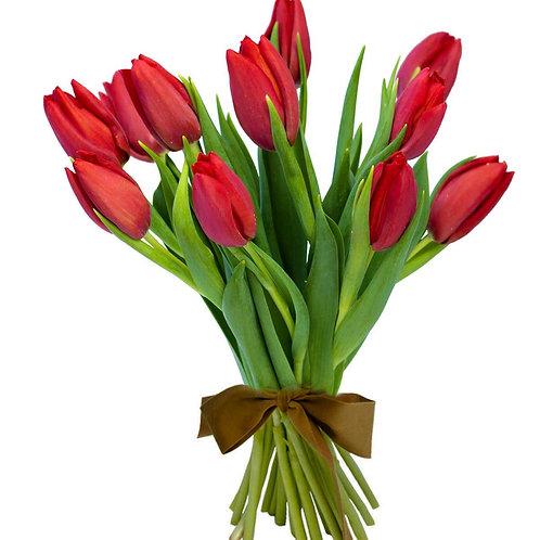 Buchet flori - Lalele rosii 11 fire