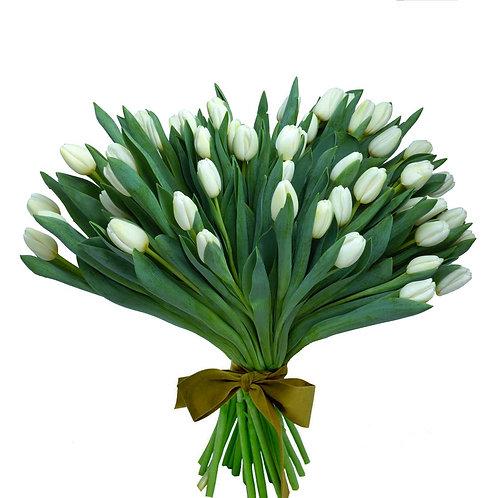 Buchet flori - Lalele albe 49 fire