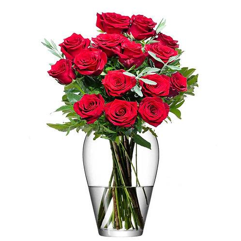 Buchet flori - trandafiri rosii 15 fire