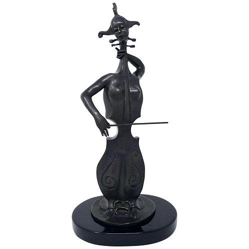 Mujer Chelo Escultura Surrealista En Bronce De Alejandro Velasco