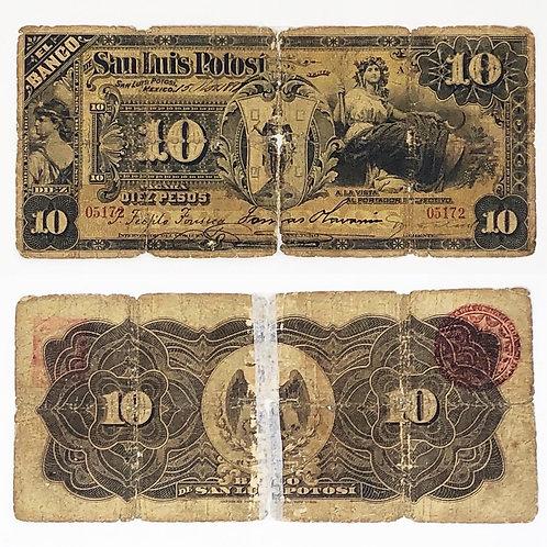 Billete Antiguo de 10 Pesos San Luis Potosí 1897