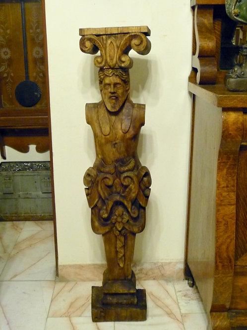 Columna Antigua Labrada en Madera Siglo XIX