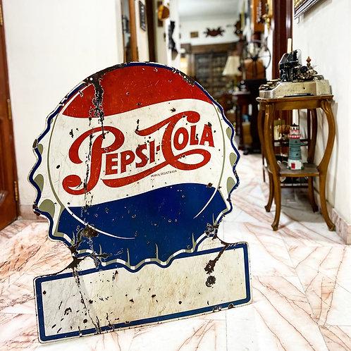 Anuncio Antiguo de Pepsi Cola Lámina Porcelanizada Ca.  1950