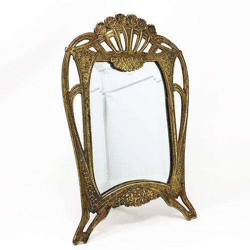 Espejo Antiguo de Bronce Art Nouveau Ca. 1900