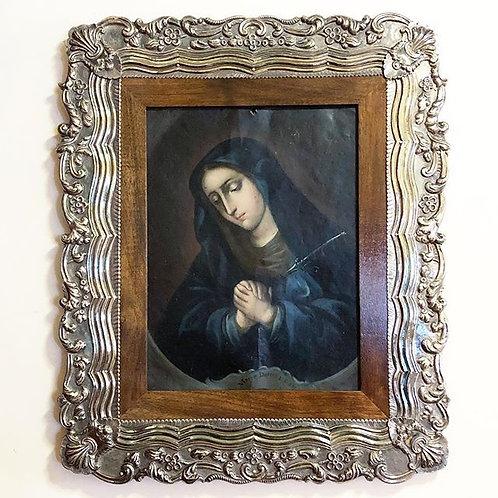 Pintura Antigua Virgen Dolorosa Oleo En Lámina De Cobre XVIII
