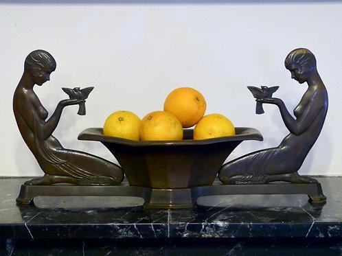 Centro de Mesa Art Deco Hecho de Bronce Emory P. Seidel