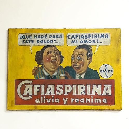 Anuncio Antiguo de Cafiaspirina Pintado Sobre Tela Ca. 1950