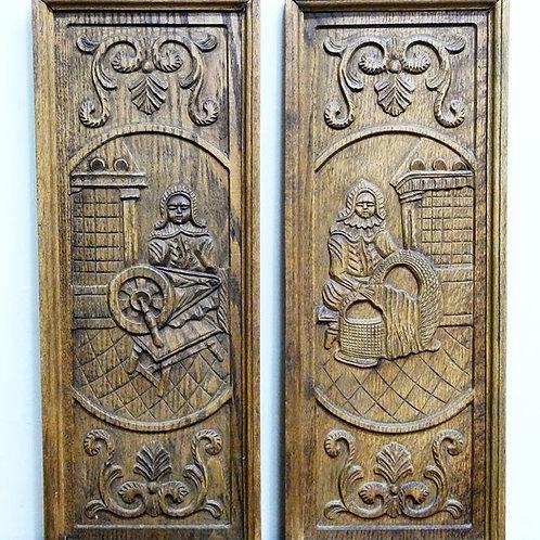 Paneles Antiguos Labrados en Madera de Encino Origen Holandés