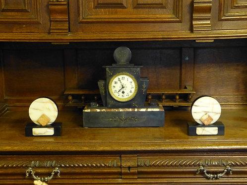 Reloj de Mesa Antiguo Estilo Art Deco de Mármol Ca. 1940