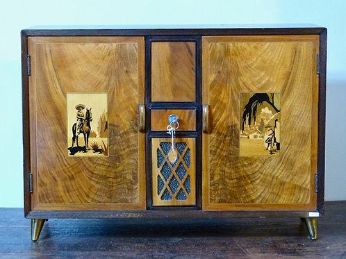 Caja Musical Antigua Marca Reuge Con Gabinete de Madera Italiano Mid-Century