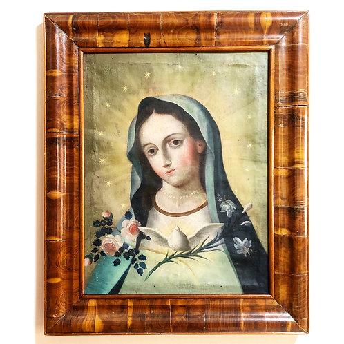 Pintura Antigua de la Virgen de la Encarnación Siglo XIX