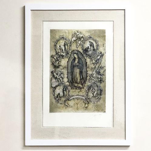 Grabado de la Virgen de Guadalupe con Aparaciones