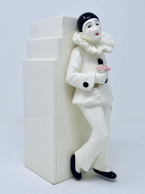 Florero Antiguo de Cerámica con Pierrot Art Deco